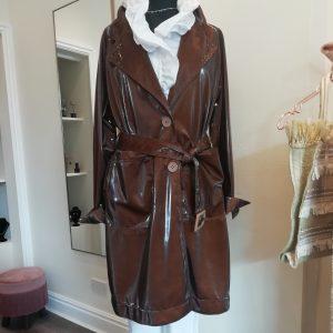 glossy raincoat